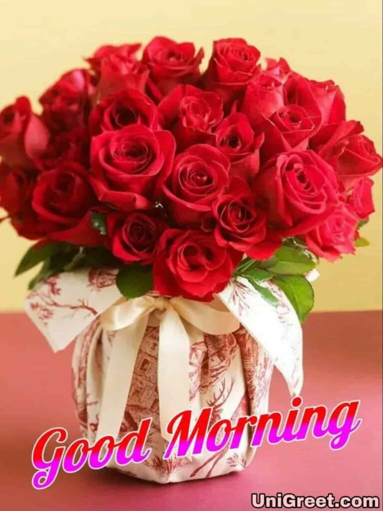 Good morning roses bouquet with beautiful red roses