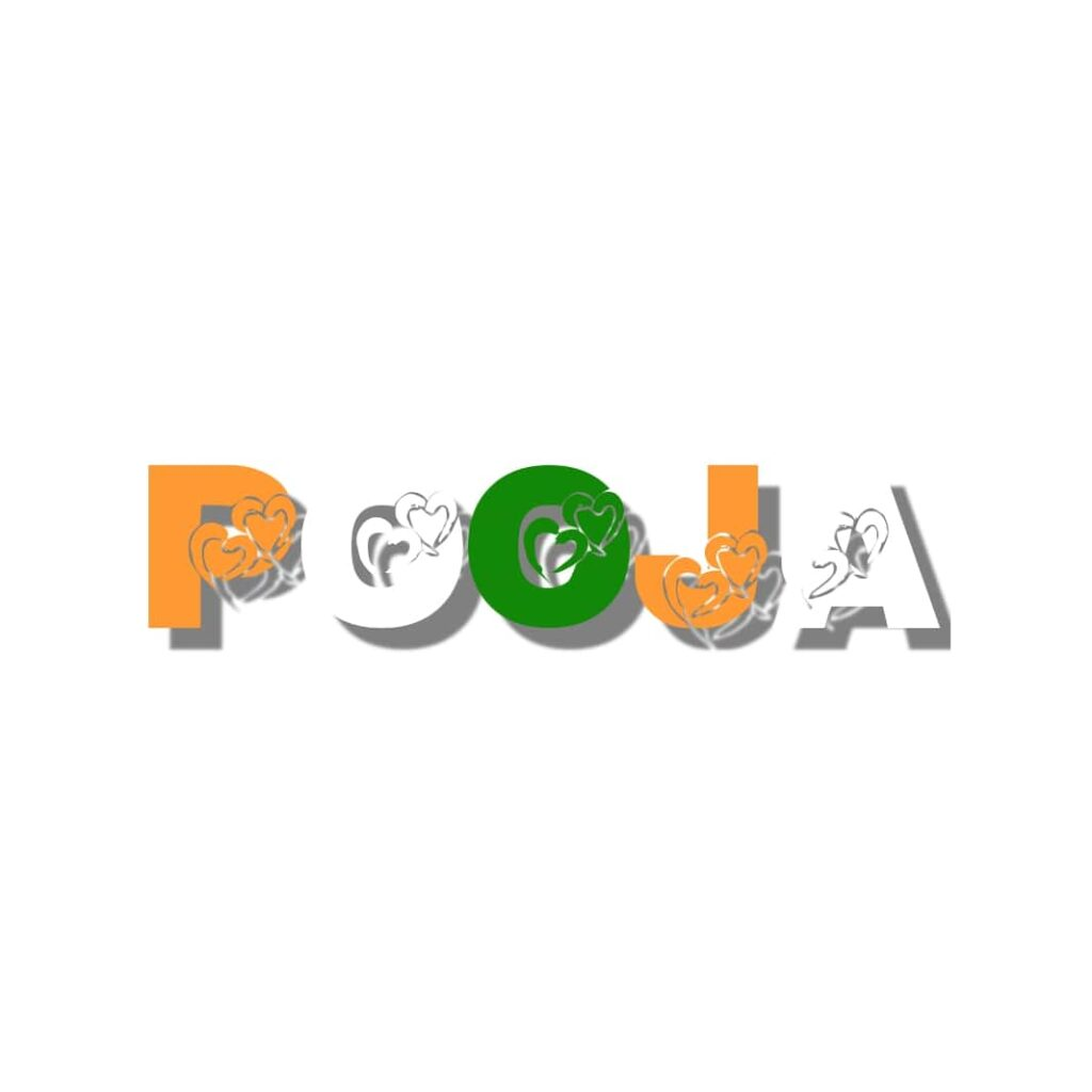 pooja name in indian flag